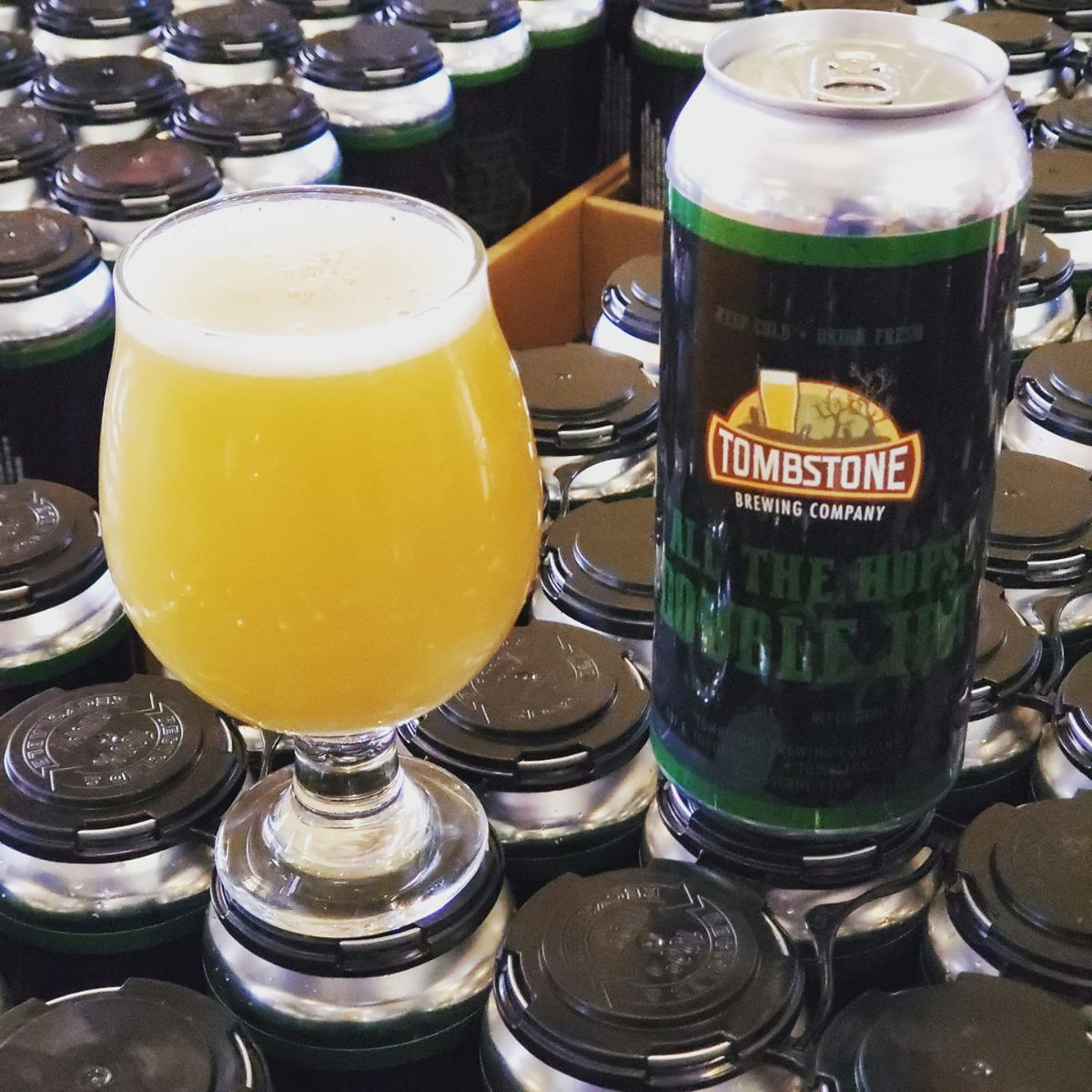 all the hops double ipa in a glass and can on cans