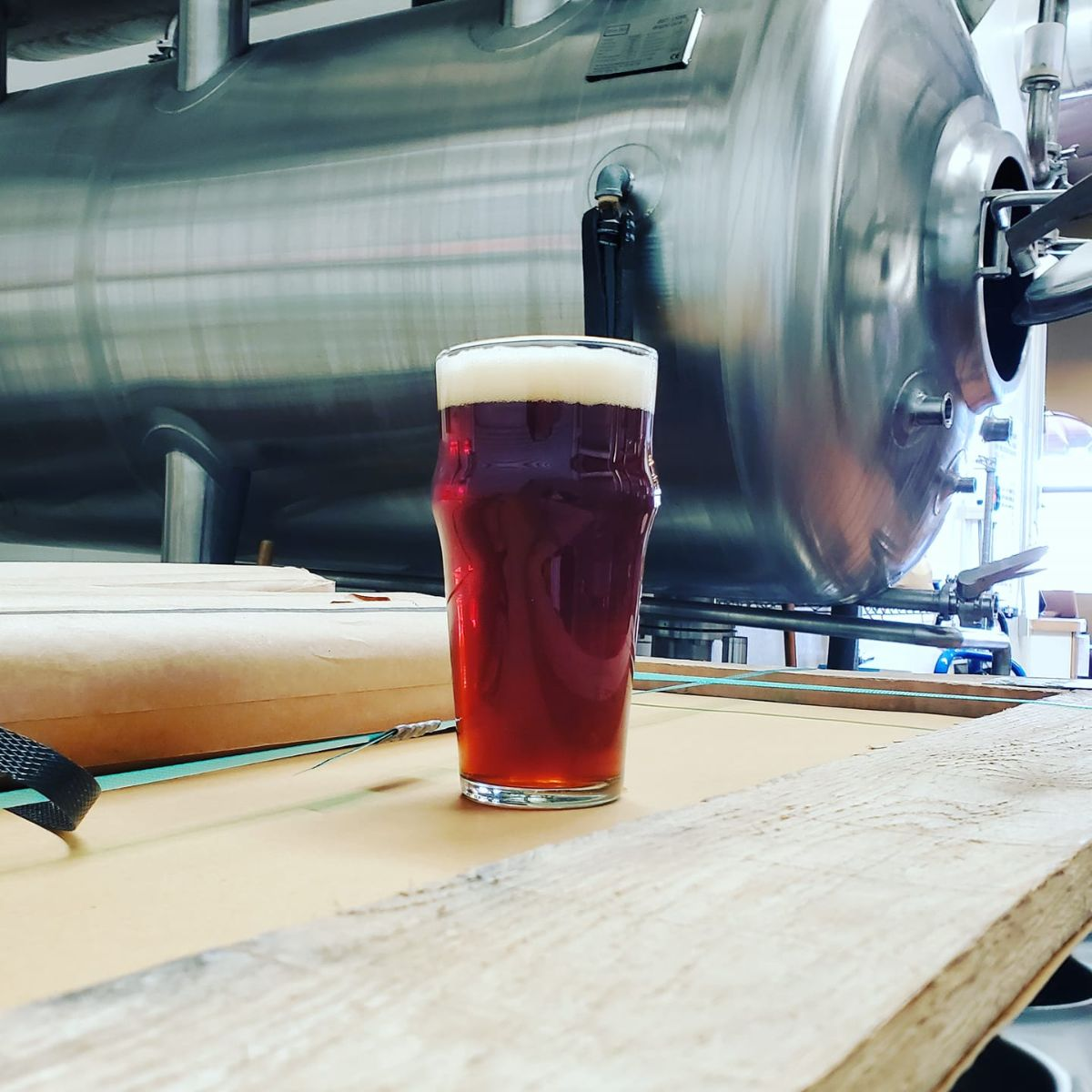 tombstone beer oak fermented english mild in the brewery