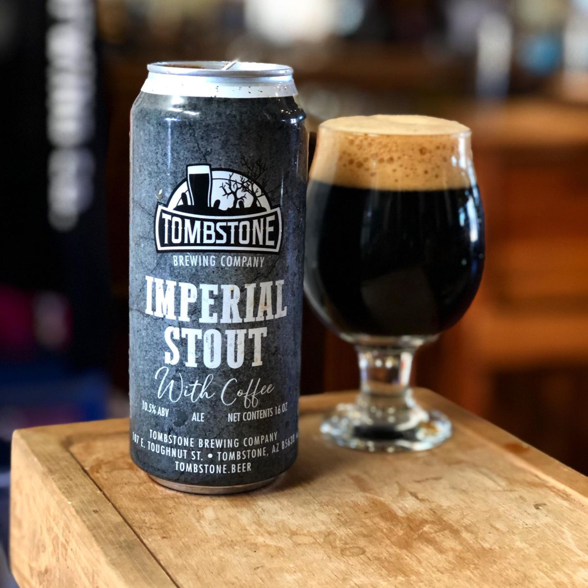 tombstone imperial stout with coffee in a can and glass