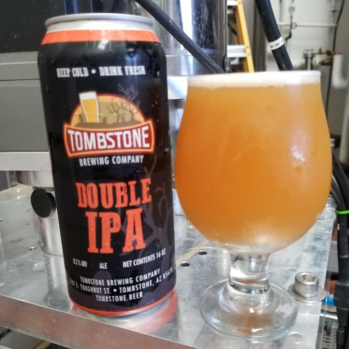 tombstone brewing double ipa in the brewery